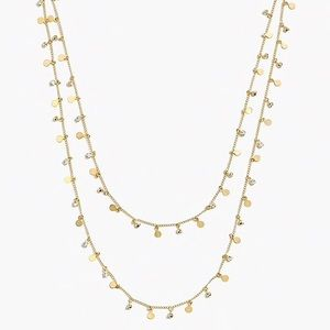 J. CREW Crystal & Gold Tiny Disc Layered Necklace